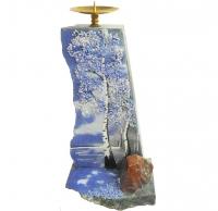 Большой подсвечник с рисунком из камня