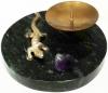 круглый настольный подсвечник из камня