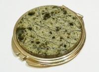 Зеркало карманное круглое из змеевика жёлтое